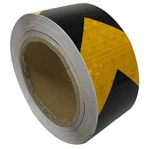 iplusmile Pijl Reflecterende Tape Veiligheid Waarschuwing Tape Fluorescerende Hoge Zichtbaarheid Waarschuwing Sticker Voor Auto Vrachtwagen Motor Fiets Helm 5Cm X 25M (Zwart en Geel)