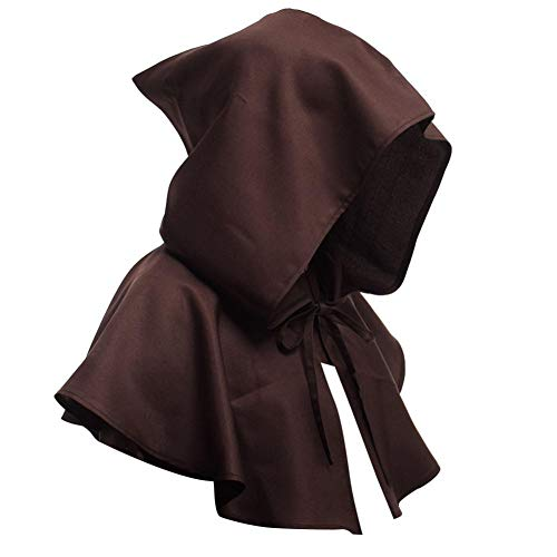 cineman, Mantello con Cappuccio, Vampiro, Halloween Vampire Devil Death Cape per Cosplay, Halloween, Maschera, Mago, Festa Marrone