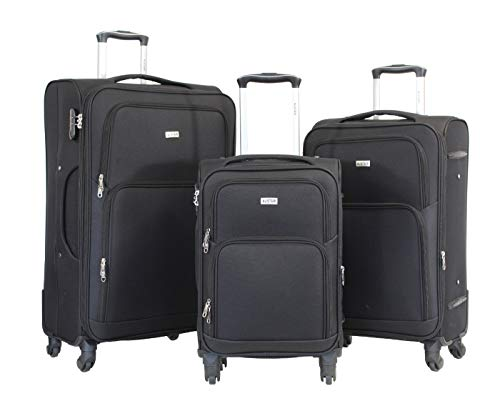 Alistair C-LITE Set of 3 Suitcases – Lightweight and Durable Nylon Canvas – 4 Wheels – French Brand Black Black SML
