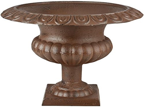 Esschert Design Französische Vase, 45 x 45 x 30 cm, aus Gusseisen, niedrig, Größe L, Blumenvase, Pflanzenvase, Stabiler Stand, Gartendekoration