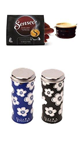 Senseo Typ Espresso Intenso + 2 passende Paddosen mit Motiven + 2 Espressotassen mit Henkel 100ml