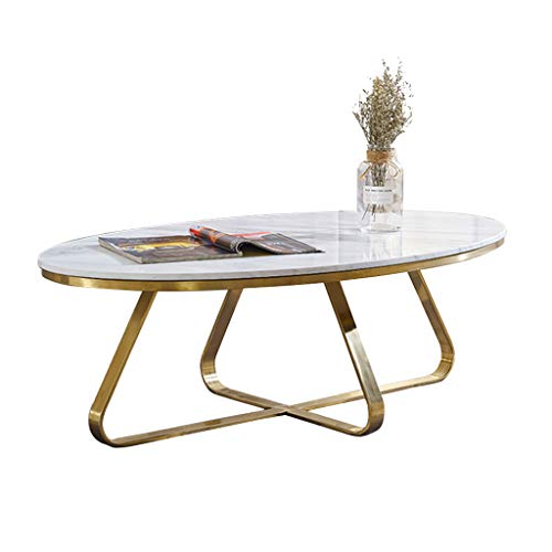 Moderner Couchtisch für Wohnzimmermöbel Ovaler Marmor-Beistelltisch Gelegentlicher Stehtisch Teetisch für Wohn- und Büroräume Goldener Luxusrahmen