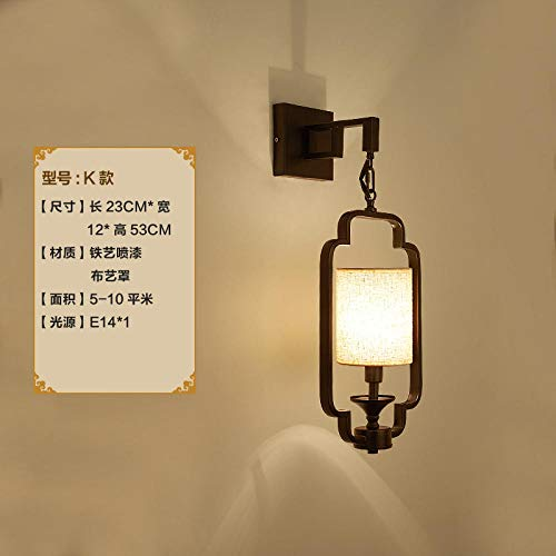 Treppenwand lamp_New chinesischen Wandleuchte Stoff Wohnzimmer TV Hotel Gang Technik Großhandel Retro Schmiedeeisen Treppe Wandleuchte