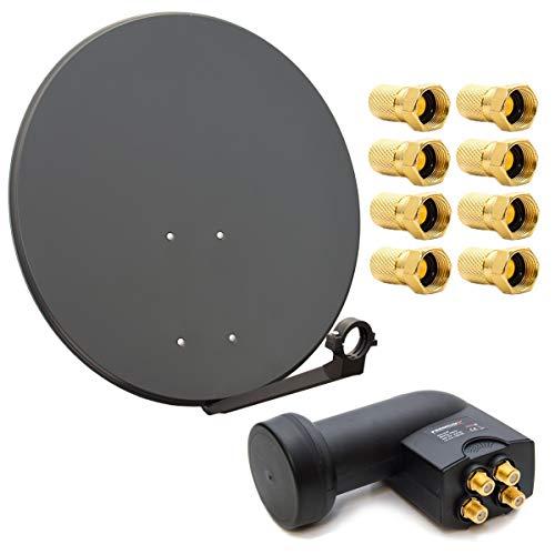 PremiumX Digital HD SAT Anlage 80cm Stahl Schüssel Spiegel Antenne Anthrazit Quad LNB 4K 0,1 dB für 4 Teilnehmer inkl. 8X F-Stecker vergoldet mit Dichtring