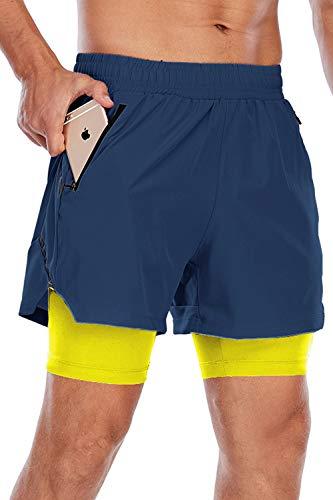 Yidarton Pantalones cortos de deporte 2 en 1 para hombre, para verano, secado rápido, para correr, gimnasio, entrenamiento 1-royal blue+yellow M