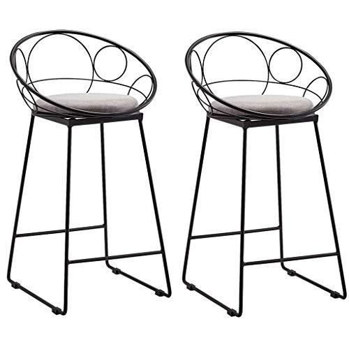 WWW-W-DENG barkruk met voetsteun/spons, mat, rugleuning, eetkamerstoel, keuken, 2 hoge stoelen, tot 150 kg, voeten van metaal, zwart, barkruk