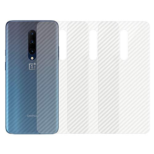 qichenlu [Carbon Muster] 4 Stück Rückseite Folie für OnePlus 7 Pro, Folie Hinten für OnePlus 7 Pro,Klar Matt Klebefolie Kratzfest Hinten Schutz