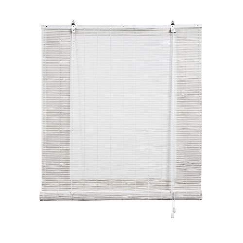 Estor de bambú, Estor Enrollable de bambú Natural, persiana de bambú para Interior. (90 cm x 175 cm, Blanco)