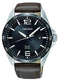 Seiko Herren-Uhr analog Solar mit Lederarmband SNE487P1