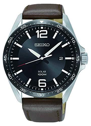 Seiko Reloj Analógico para Hombre de Energía Solar con Correa en Cuero SNE487P1