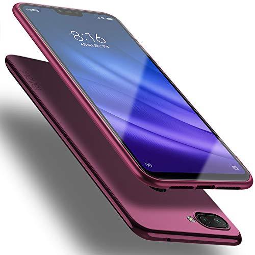 X-level Funda para Xiaomi Mi 8 Lite, Carcasa para Xiaomi Mi 8 Lite Suave TPU Gel Silicona Ultra Fina Anti-Arañazos y Protección a Bordes Funda Phone Case para Xiaomi Mi 8 Lite-Vino Rojo