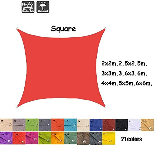 Freestyle Shade Square waterproof sun shade garden patio sun protection canopy awning 95% UV block 21 colors 7 size (Color: # 14 Size: 2.5x2.5m) 0724