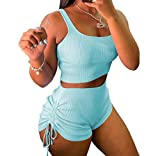 Women's Casual Workout Outfit Halter Cropped Tops Stacked Ruched Pants Tracksuit Short Set