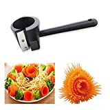 1 x manual espiral cortador embudo taza, rallador de embudo de flores mano, rizador de zanahoria, para vegetales, pepino, calabacín, pelador, herramienta de cocina