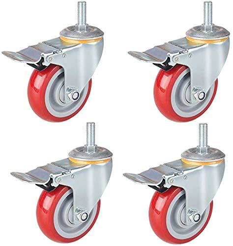 4X zwenkwielen MeubelCastor op Trolley Heavy Duty wielen 12 mm Schroefstaaf Diameter 3 inch 4 inch 5 inch Geschikt voor trolleys werkbanken garages 3-inch-rem