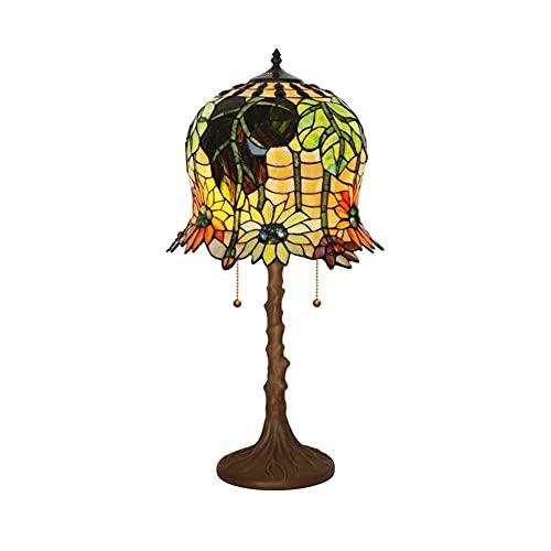 DIMPLEYA Tiffany lámpara Tiffany lámpara de Mesa Girasol Europeo Sala de Estar Dormitorio Noche lámpara de Noche Hecha a Mano Color Color