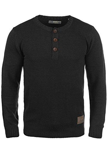 !Solid Terrance Herren Strickpullover Feinstrick Pullover Mit Rundhals Und Knopfleiste, Größe:S, Farbe:Black (9000)