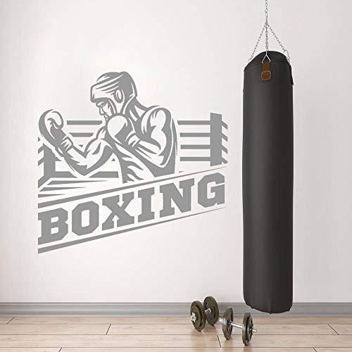 Zdklfm69 Adhesivos Pared Pegatinas de Pared Boxer Masculino Entrenamiento Silueta Pared Vinilo Arte Pegatina Boxeo Gimnasio Pared Arte decoración 60x57cm