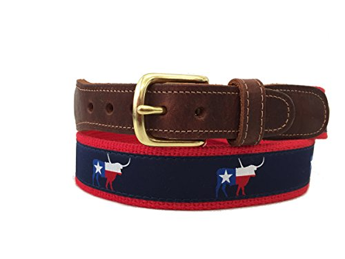 Preston Leather Navy Blue & Red Texas Flag Longhorn Ribbon Belt (34)