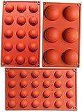 Bakeware Set Stampo in silicone per la decorazione della torta Jelly Pudding Candy Cioccolato 6 fori semicircolo 15 fori semicircolo 24 fori semicircolo Ogni Design 1pc Brown Color, Set di 3