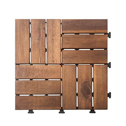 Wooden floor Outdoor balcony anticorrosive wood floor 30 30cm DIY splicing outdoor terrace transformation wooden brick