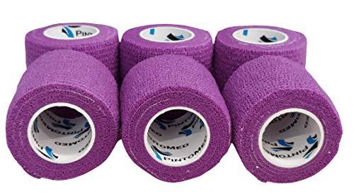 PintoMed - Dehnbare Kohäsive Bandage Fixierband - 6 x Lila - 5cm x 4,5m - Insesamt 6 Stuck, 5cm breit, 4,5m Dehnbare, elastische kohasive selbsthaftende Sport fixierbinde