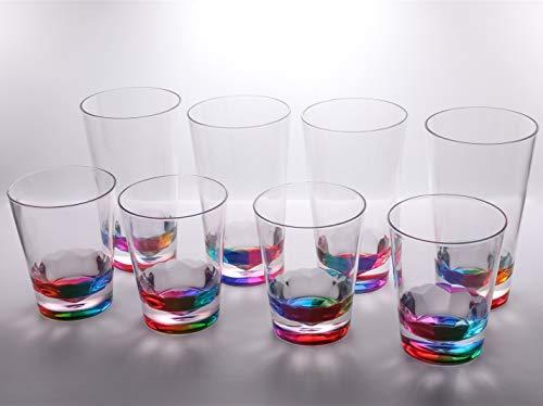 14oz and 22oz Rainbow Colored Acrylic Glasses, Set of 8 BPA Free