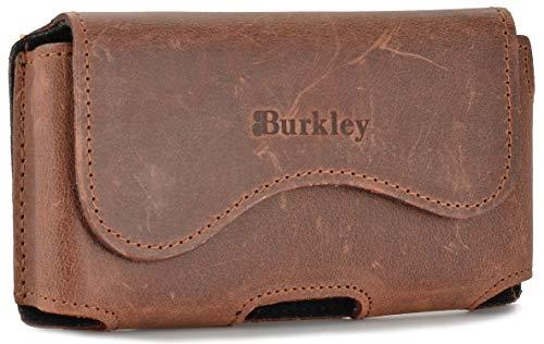Burkley Gürteltasche für Sony Xperia XA / XA1 / XA2 Handyhülle Holster Schutzhülle geeignet für Sony Xperia XA / XA1 / XA2 Hülle mit Gürtel-Schlaufe (Horizontal/Antik Braun)
