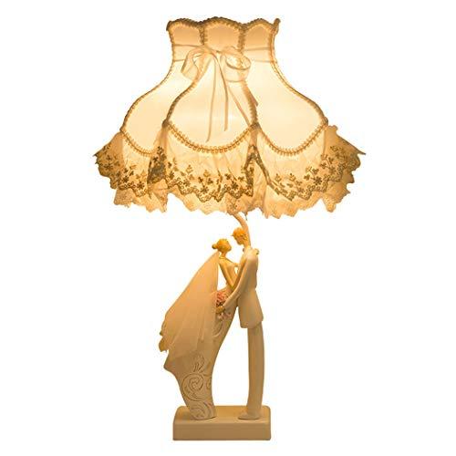HONGNA Decoración Regalo De Boda Plug-in Práctico Creativo Lámpara De Mesa Nuevo Suministros De Boda Aniversario Recuerdo Decoraciones para El Hogar Europeo (Color : Oro)