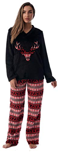 Just Love Plush Christmas Pajama Sets Women 6742-10310-M Black - Reindeer Snowflake