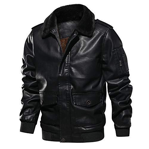 Landscap Men's Leather Motorcycle Jacket Hoodie Zipper Fashion Vintage Casual Outdoor Windbreaker Jacket Coat (Black C, XXL)