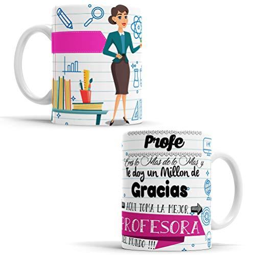 OyC Original y Creativo Taza con Frase y Dibujo - Taza Profe Eres lo mas de los mas se Merece un millon - Taza para la Mejor Profesora del Mundo (Profesora)