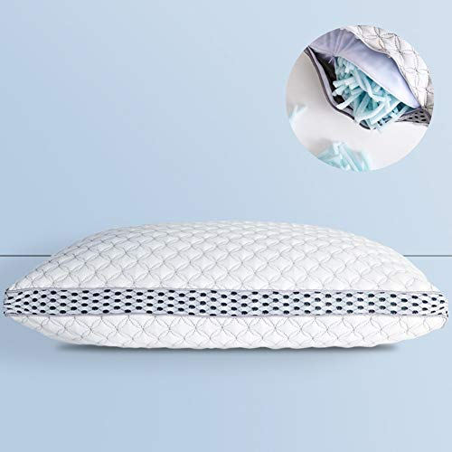 LIANLAM Memory Foam Pillow for Sleeping Shredded Bed Bamboo Pillow...