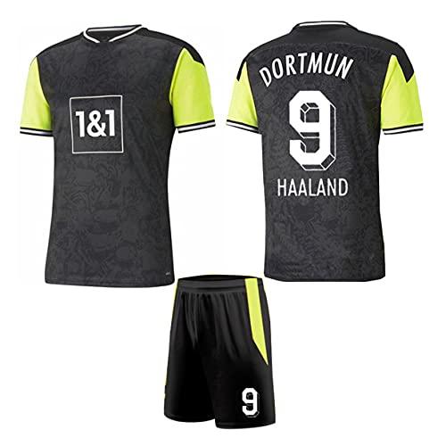 DHRBK Uniforme da Calcio # 9 Maglia da Calcio Haaland con Calza da Calcio per Adulti Tifosi della Squadra di Club per Bambini Kit di Magliette Commemorative di Calcio