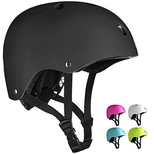 ILM Kids Youth Skateboard Helmet Impact Resistance Ventilation for Skateboarding Scooter Outdoor Sports(Matte Black,XXS XS)