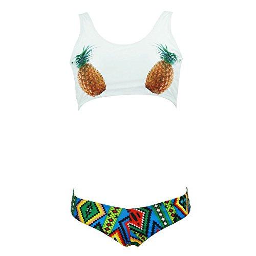 DELEY Damen Mädchen Schöne Ananas Print Ethno Muster Gepolsterte Sport Bikini Brasilianische Bademode Badeanzug Swimwear Beachwear Weiß Größe XL