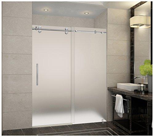 """Aston Langham 56"""" to 60"""" x 75"""" Completely Frameless Sliding Shower Door in Frosted Glass"""
