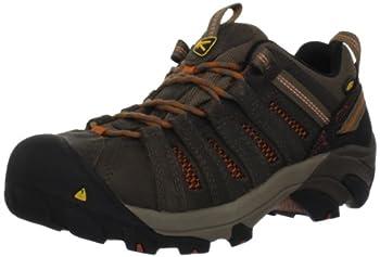 KEEN Utility Men's Flint Low Steel Toe Work Shoe, 10.5D, Shitake Brown/Rust