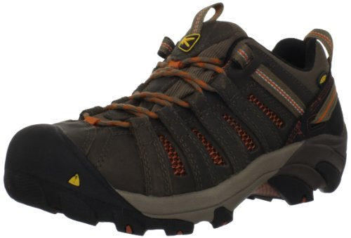 KEEN Utility Men's Flint Low Steel Toe Work Shoe, 12EE, Shitake Brown/Rust