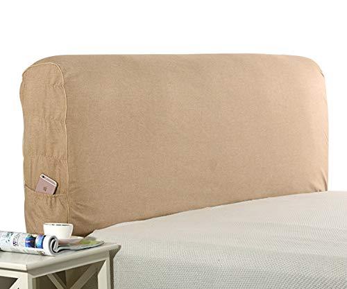 HDGZ Cama Prueba De Antipolvo Elástica Funda Protectora De Cabecera De Cama para Cabecero De Cama Resistente Al Polvo Monocolor para Dormitorio Decoración (Color : Camel, Size : 230 * 60cm)