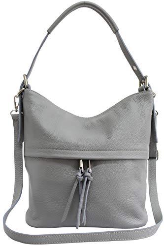 AmbraModa Damen Handtasche Schultertasche Beutel aus Echtleder GL024 (Hellgrau)