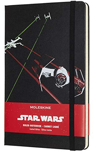 Moleskine Taccuino Star Wars in Edizione Limitata, Notebook a Righe con Grafica e Dettagli a Tema Astronave, Copertina Rigida, Formato Large 13 x 21 cm, Colore Nero, 240 Pagine