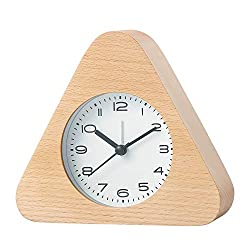 Tansato Classic Wooden Clock, Silent Desk & Table Alarm Clock with Nightlight, Bedside Clock,Triangle Shape,Classic Vintage Elegant Decoration for Home Bedroom Office