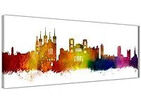 PARFAIT sur CANAPÉ ou LIT - Grand imprimé urbain de villes de 94 x 30 cm avec cadre panoramique, convient parfaitement à de nombreux espaces TOUCHE FINALE UNIQUE - Cette murale de paysage urbain moderne, réalisée à l'aquarelle originale, complète un ...