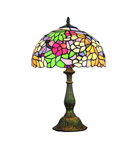Tokira Tiffany Tischlampe, Tiffany Glas Lampen Tischlampen, Tiffany Lampenschirm 40 cm Vintage Blumengarten Glasmalerei Traditioneller, Bequemes Nachtlicht am Bett, Frei LED-Glühbirne
