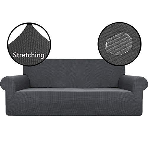 OldPAPA Strecken Sofabezug Sofaüberwürfe Herausnehmbar Waschbar Sofa Überwürfe Wohnzimmermöbel Beschützer Jacquard Spandex Stoff, Dunkel-Grau 4 Sitzer
