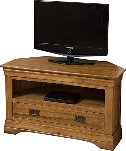 French Chateau Rustic Solid Oak Corner TV Cabinet | Rustic TV Unit with Storage | 102 x 46 cm Dark Wooden TV Stand | French Chateau By Oak Furniture King