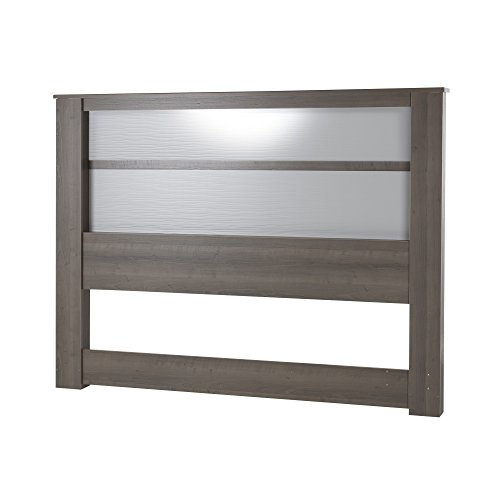 South Shore Gloria Headboard with Lights, King 78-Inch, Gray Maple,