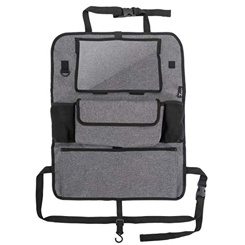TIMARO Rücksitz Organizer Auto   Universal Kickmatte Sitzschutz Rückenlehnenschutz Rückenlehneschoner iPad - Tabletfach für Kinder   Organizer Rücksitz Tasche Kinder Rückenlehenetasche 600x480 (groß)