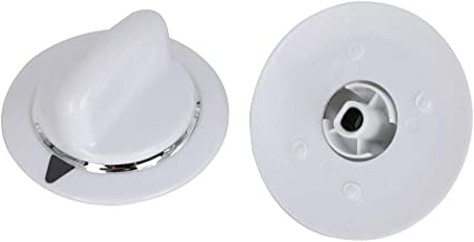 2 Pack WE1M654 Dryer Timer Knob White with Chrome Ring Replacement Part White D shaped shaft for GE & Hotpoint Dryers Replaces AP3995098 AP3995088 PS1482197 WE01M0443 WE1M443 WE1M668 WE1M502